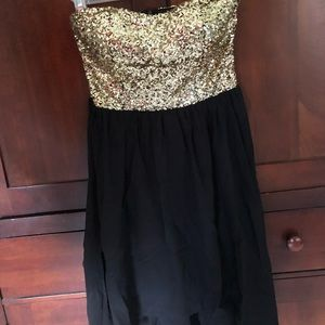 Gold Sequin and Black Dress